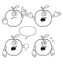 Black and white crying apple set vector image