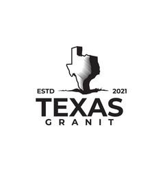 Black map texas granite company logo design vector