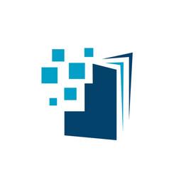 blue e book logo design sign electronic book vector image