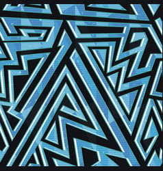 Blue geometric seamless pattern vector