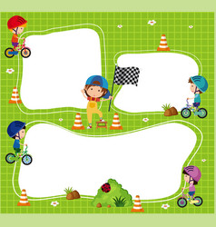 Border template with kids riding bicycle vector