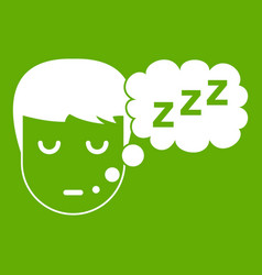 boy head with speech bubble icon green vector image