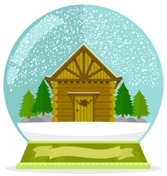 Cabin in a snow globe vector