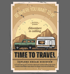 caravan camper car trip travel adventure vector image
