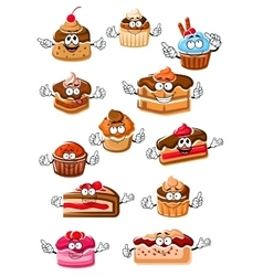 Cartoon happy pastry and bakery vector