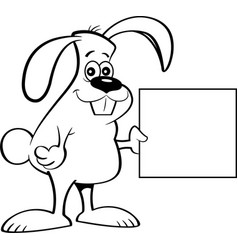 cartoon rabbit holding a sign vector image