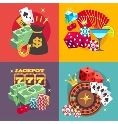 Casino gambling concept set with win money vector