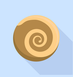 Choco swirl biscuit icon flat style vector