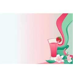 Cocktail card with strawberry and plumeria vector