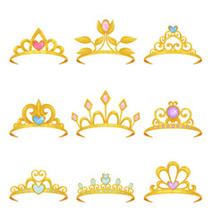 Collection of various royal crowns decorated with vector