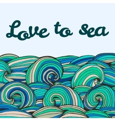 Color doodle texture swirl summer sea inscription vector image
