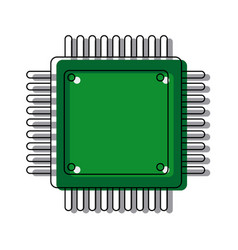 computer microchip circuit hardware element icon vector image
