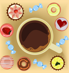 Cup of coffee with donuts vector