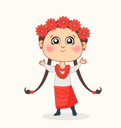 cute bagirl in a wreath flowers vector image