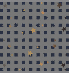 Cute pattern with stripes and golden stars on vector