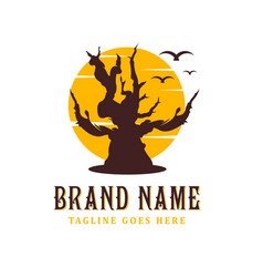 dead tree logo design with a sun background vector image