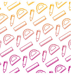 degarded line education school utensils style vector image
