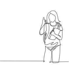 education concept one line drawing young vector image