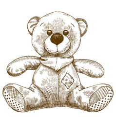Engraving of teddy bear toy vector