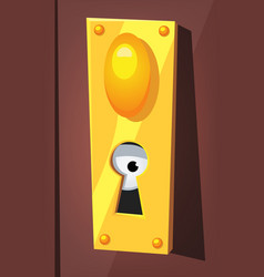 Eye spying behind door keyhole vector