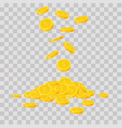 falling gold coins on transparent background cash vector image