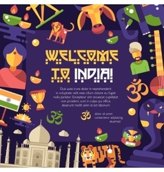 Flat design India travel flyer with famous Indian vector image