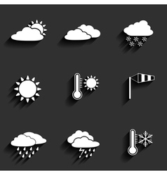 Flat design style weather icons set vector image vector image