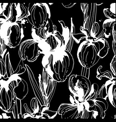 floral flower iris seamless hand drawn pattern vector image