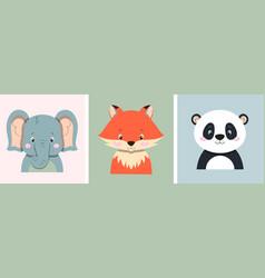 fox elephant and panda vector image