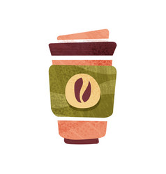 Fresh coffee in big plastic cup with lid hot vector