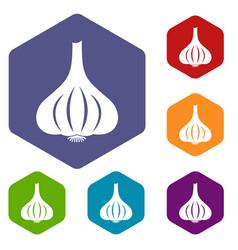 Garlic icons set hexagon vector