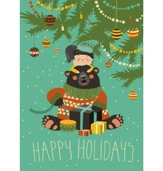 Girl gives gifts to bear vector image