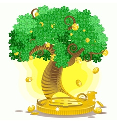 Gold money tree vector