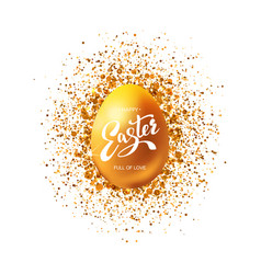 golden egg with glitter and greetings vector image