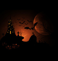 Halloween party scary bats and gothic castle vector