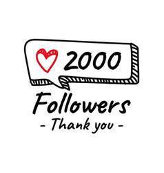 Hand drawn 2k followers banner design template vector