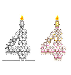 Hand drawn cartoon characters - birthday candle 4 vector