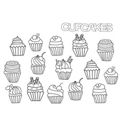 Hand drawn cupcakes set coloring book page vector