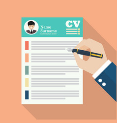 Hand writing curriculum vitae application paper vector