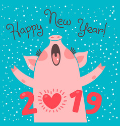 happy 2019 new year card funny piglet vector image