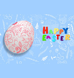 happy easter colorful background with eggs vector image