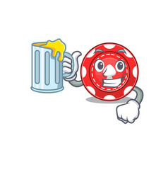 Happy gambling chips mascot design with a big vector