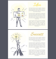 idea and success plan posters vector image