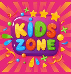 kids zone banner children playroom poster vector image