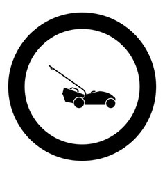 Lawn mower icon black color in round circle vector