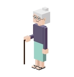 Lego silhouette elderly woman with walking stick vector