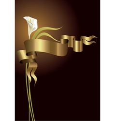 lily with gold ribbon vector image
