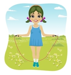 little girl jumping with skipping rope in park vector image