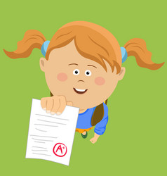Little girl showing perfect test results vector