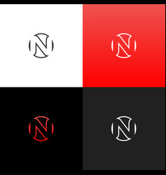 logo n in circle linear logo of the letter n vector image